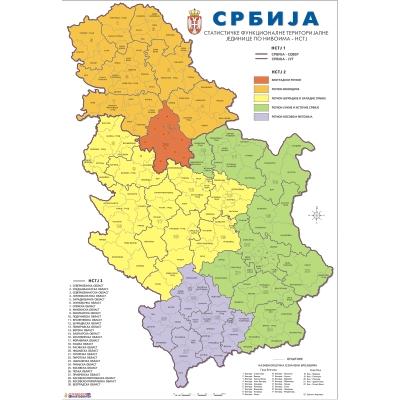 nova karta srbije SRBIJA ADMINISTRATIVNA   NOVA   Zidna karta na baneru nova karta srbije