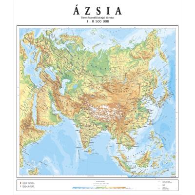Azija Mađarski Jezik Fiz Geo Zidna Karta