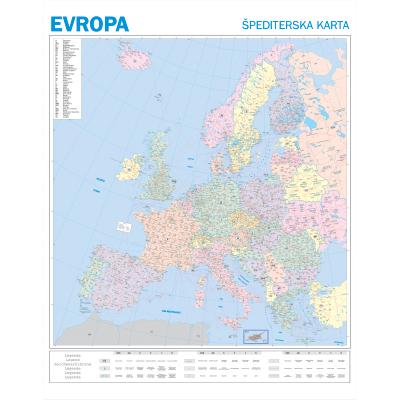 karta evrope sa postanskim brojevima EVROPA   ŠPEDITERSKA   Zidna karta na baneru karta evrope sa postanskim brojevima