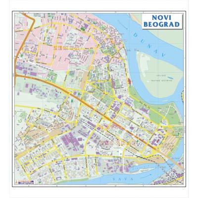 novi beograd mapa grada NOVI BEOGRAD   Zidna karta na baneru novi beograd mapa grada
