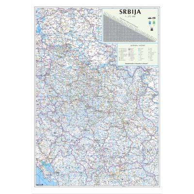 Auto Karta Srbije Pvc Zidna Karta