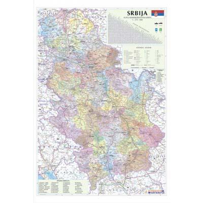 Srbija Auto Administrativna Zidna Karta