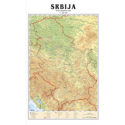 detaljna karta srbije SRBIJA FIZ GEO.   Zidna karta detaljna karta srbije