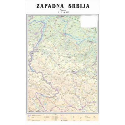 mapa zapadne srbije ZAPADNA SRBIJA FIZ GEO I AUTO   Zidna karta mapa zapadne srbije